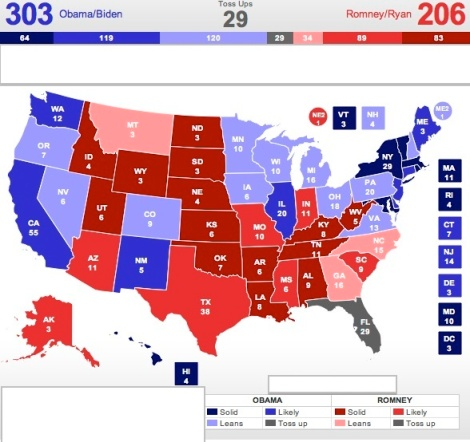 electoral college projection 2012 From this, a dynamic programming algorithm is used to compute the probability  mass functions for the number of electoral votes that each.