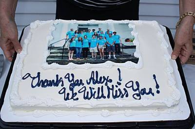 Cake at Goodbye Party With Picture of Youth Group from 2015 Mission Trip