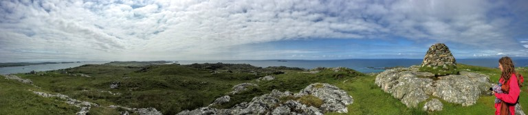 Panorama of island of Iona from the top of Dun i